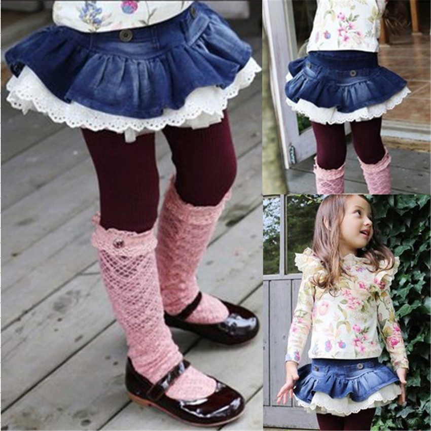 3-8 y kids leggings girls ruffle pants denim skirts lace leggings for girls clothes On Sales girl spring autumn trousers girls lettuce edge trim ruffle hem pants