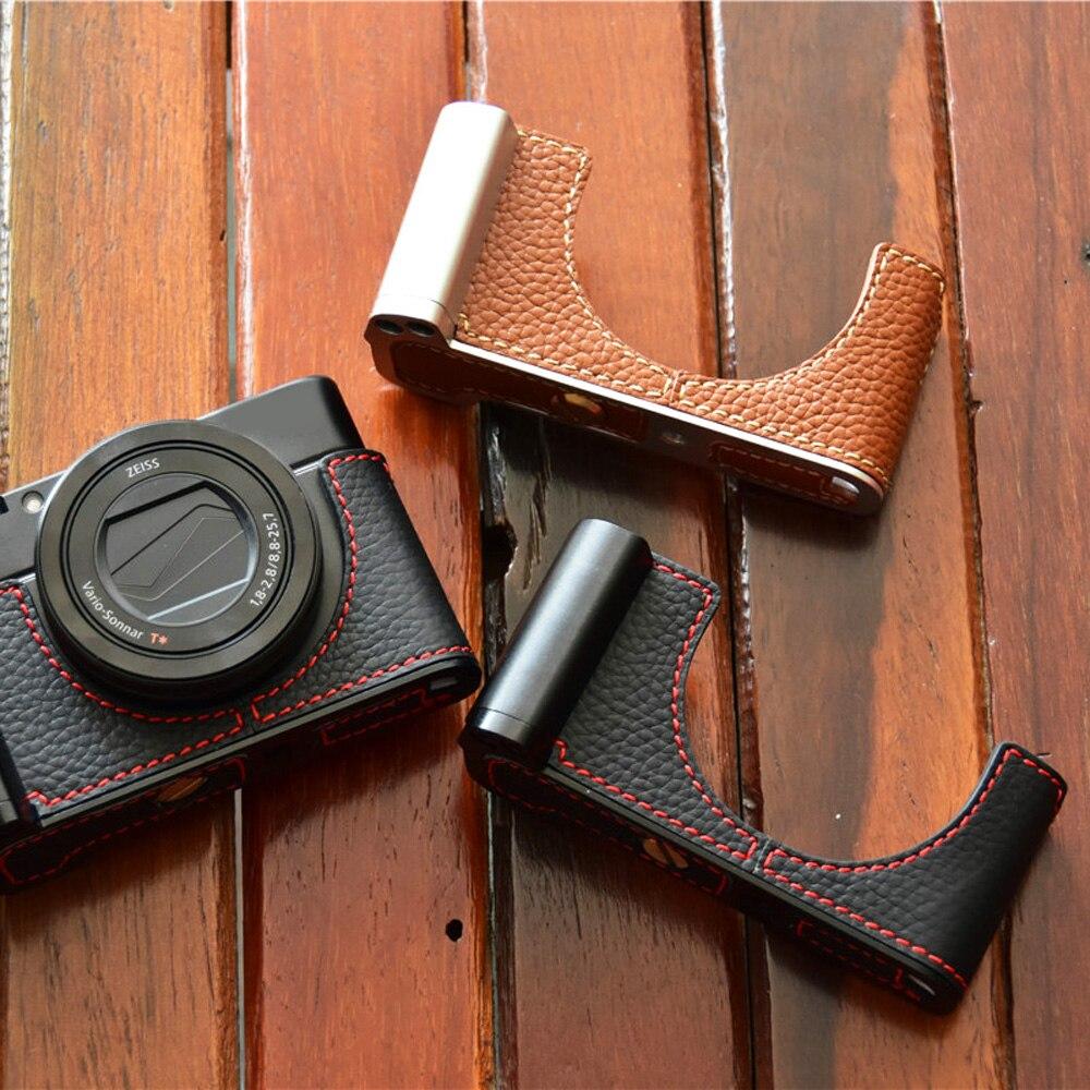Étui en cuir véritable sac photo couvercle inférieur demi corps ensemble pour Sony RX100 RX100 II III RX100 IV V RX100 VI avec sangle