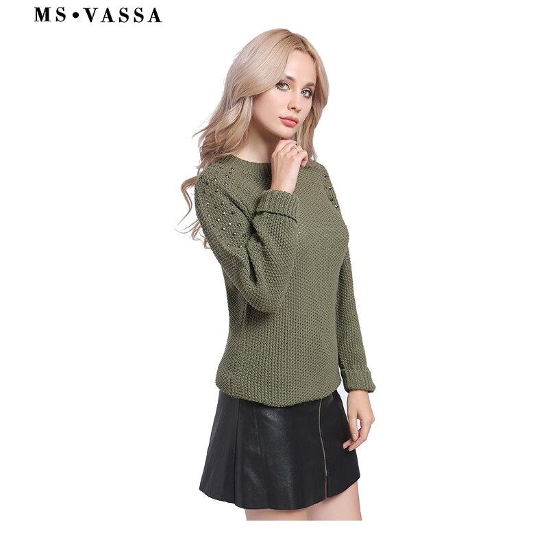 MS VASSA Femmes Chandails Automne Lâche Tops Hiver Dames Armée vert Pulls ras du cou à manches longues Pulls casual surdimensionné