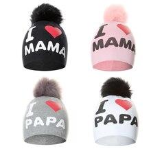 Вязаная шапка с помпоном для маленьких девочек и мальчиков, милая шапочка с надписью «I Love PAPA MAMA», детские шапки, облегающая шапка, шапочки для детей
