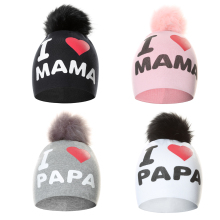 цены на Baby Toddler Girls Boys knitted Pompom Hat  Cute I Love PAPA MAMA Beanie Caps Children Hats Bonnet Skullies Beanies for Kids  в интернет-магазинах