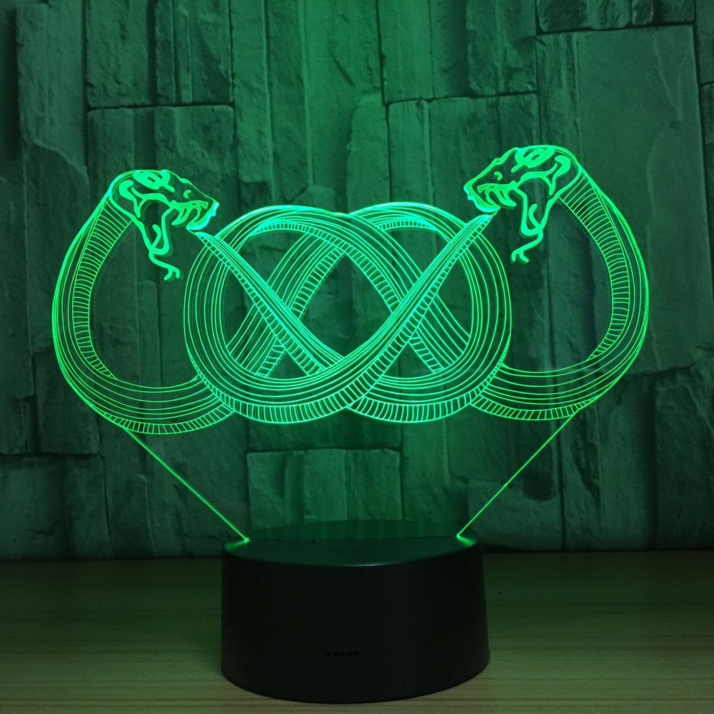 Animal Two Snake 3D LED Night Light Acrylic Colorful Gradient Atmosphere Lamp With USB Cable Children Baby Bedroom Table Lamp цена