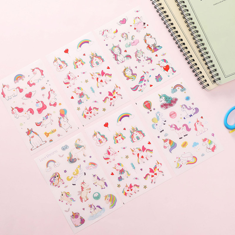 6Sheets/Set Cute Unicorn Stickers Kawaii Cherry Toys Stickers Adhesive Sticker For Kids DIY Decor Scrapbooking Diary Supplies