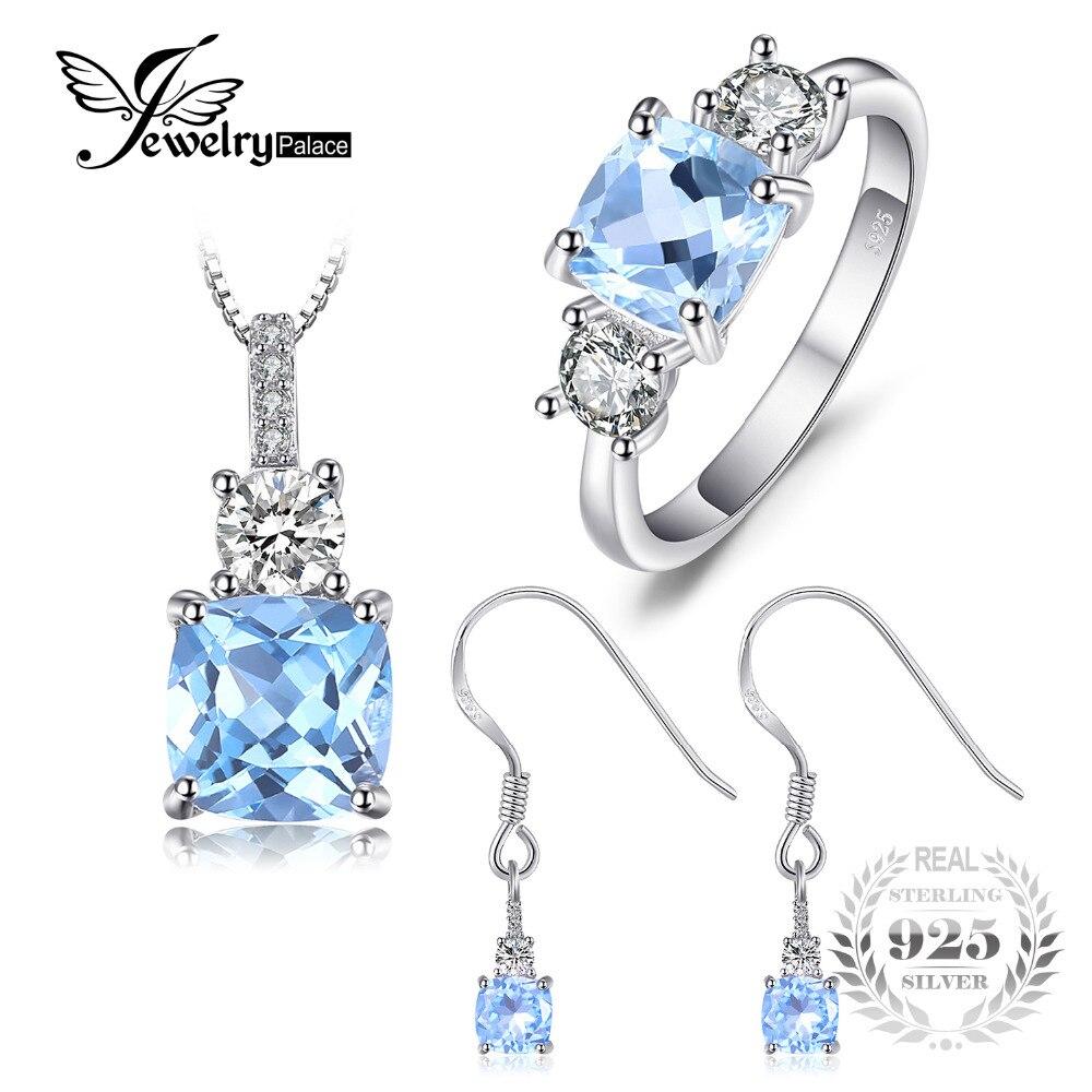 Jewelrypalace классический 6ct натуральной голубой топаз 3 камня кольцо подвеска Цепочки и ожерелья Висячие серьги Ювелирные наборы стерлингового ...