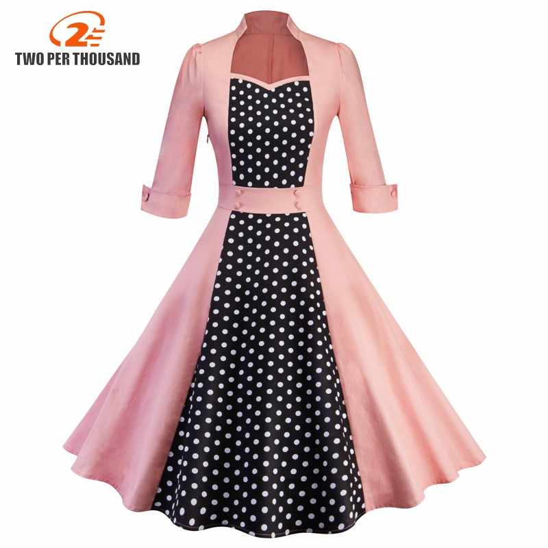 2018 Pakaian Wanita Pin Up Vestidos Musim Semi Musim Gugur Retro Kasual Pesta Jubah Rockabilly Dress 50 S 60 S Vintage Midi gaun