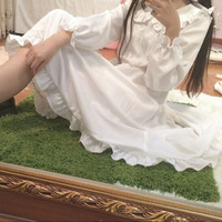 Hot Sale New Fashion Japanese Mori Girl Fresh Style Casual Falbala Sleeve Women Dress Pure White Loose Cotton Summer Dress