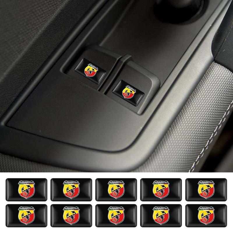 10pcs Steering Wheel 3D Epoxy Car Styling Fit For Fiat Punto Abarth 500 Stilo Ducato Shield Flag Car Sticker Car Accessories