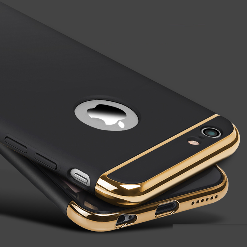 Luxury Gold Hard Case For iphone 7 6 6S 5 5S SE Back Cover Coverage Removable 3 in 1 Fundas Case For iphone 6 6s Plus 7 Plus Bag