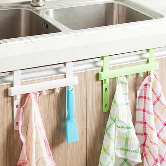 Hanging Cupboard Removable Shelf Dish Towel Organizer Clean Holder 5 Hooks Towel Door Bathroom Hanger Hook Kitchen Dust Cloth. Cleaning Cupboards Promotion Shop for Promotional Cleaning