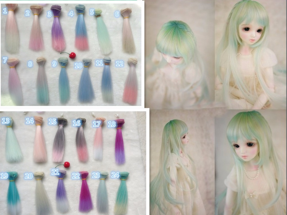 Dolls Accessories Toys & Hobbies 15cm Doll Hair Wigs Straight Hair For Bjd Blyth Dolls Chole Doll Wigs High-temperature Wire Gradient Color Doll Accessories