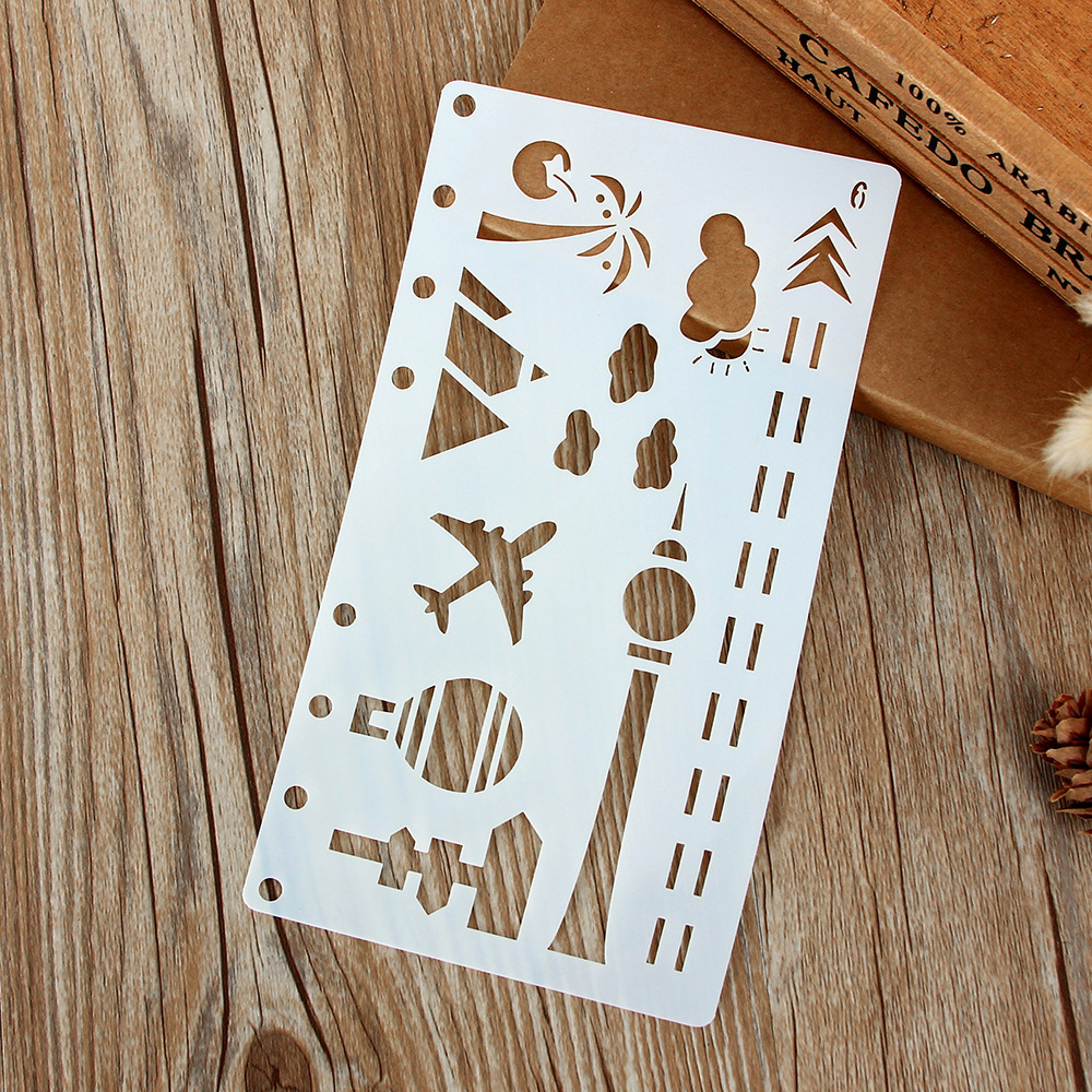A6 Plane Tower Tree DIY Craft Layering Stencils Wall Painting Scrapbooking Stamping Embossing Album Paper Card Template