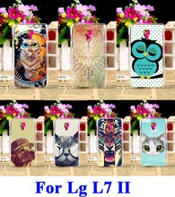 Hard Plastic Mobile Phone Cases For LG Optimus L7 II Dual P715 P716 Duet+ 4.3 inch Case Protection Shell Cover Owl  Cat Shell