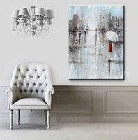 Bien hecho a mano de la Pared Obras de Arte Abstracto Pintura de La Muchacha Paraguas Blanco Vestido rojo Gris Azul Ciudad Lluvia Pintura Cuchillo Óleo sobre lienzo