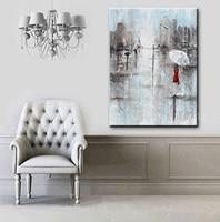 Handgemaakte Fijne Muur Kunstwerk Kunst Abstracte Meisje Witte Paraplu rode Jurk Grijs Blauw Stad Regen Mes Olieverfschilderij Canvas