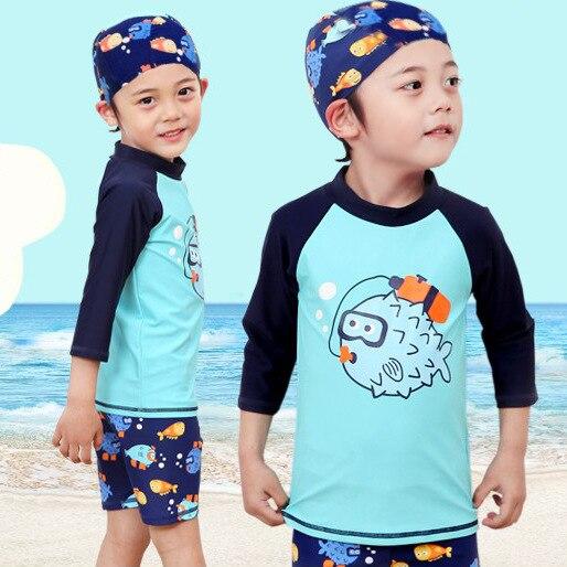Kinder Junge Zwei Stück Schwimmen Anzug Cartoon Fisch Sonnencreme Strand Body Mit Kappe Jungen Bademode 2-13Y Kinder Badeanzug surfen Tragen