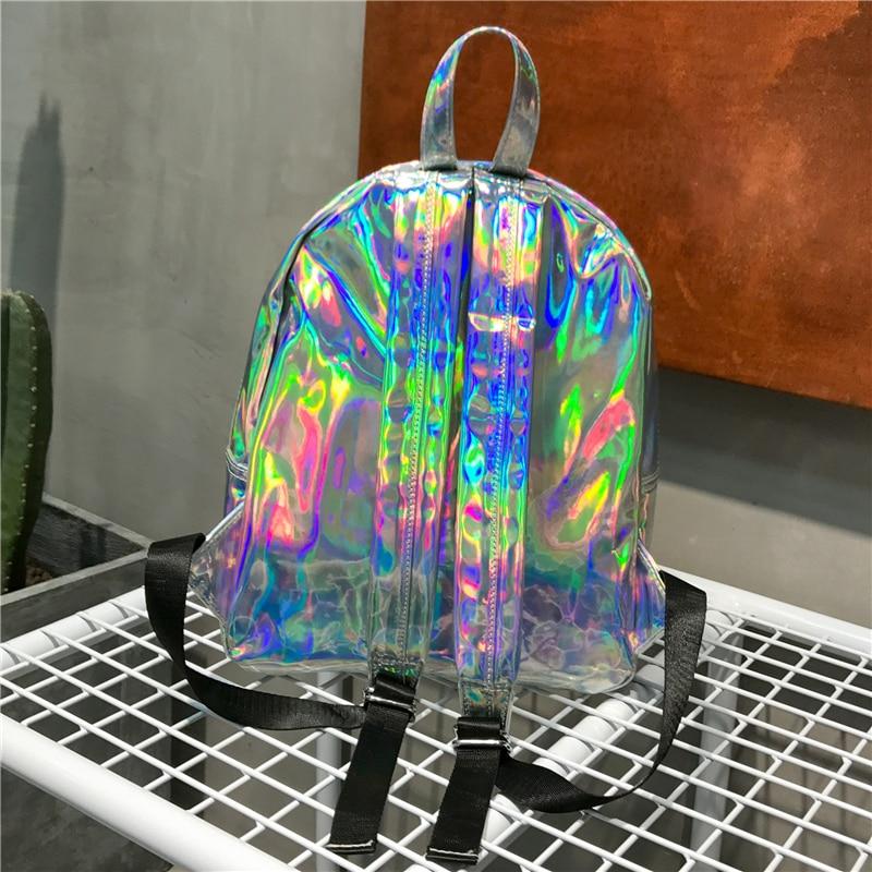 RUOCI Для женщин Mochila рюкзак Серебро Голограмма лазерная рюкзаки школьные кожаная сумка голографическая Сумка для подростков девочек Сумка