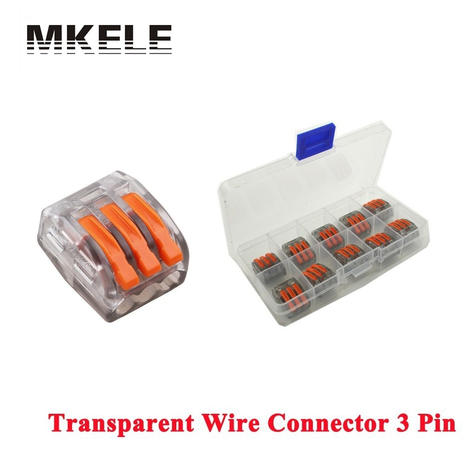 Wago 10pcs Transparent Universal Compact Fast Wire Wiring 3 Pin Mini Conductors Terminal Block 32A Connectors Findings China