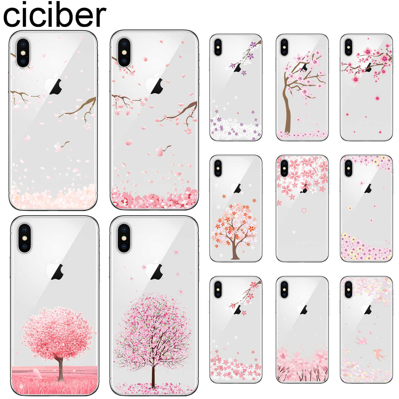 ciciber Cherry Blossom Tree Phone Cases For iphone 11 Pro XR XS MAX X Soft TPU Cover For Iphone 7 8 6 6S Plus 5S SE Coque Funda