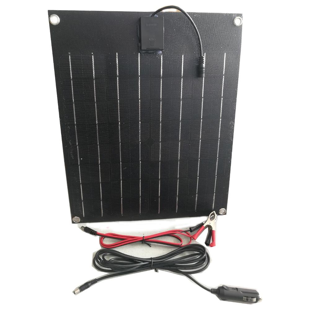 Panneau solaire noir Total 20w cellule solaire flexible ETFE Film revêtement semi panneau chargeur de batterie solaire 12V batterie solaire-in Cellules photovoltaïques from Electronique    1