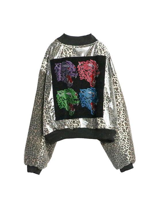 Cuir Femmes La Femme Noir Dame Faux Taille Automne Plus Doux 2018 Vestes Léopard Femelle Imprimé En Fermeture Multi Fraîche Slim Outwear Éclair Manteau za5qXwxRn