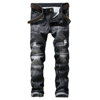 GMANCL Biker Men Jeans Homme Hole Slim Fit Distressed Ripped Denim Black Pant Straight Male Stone