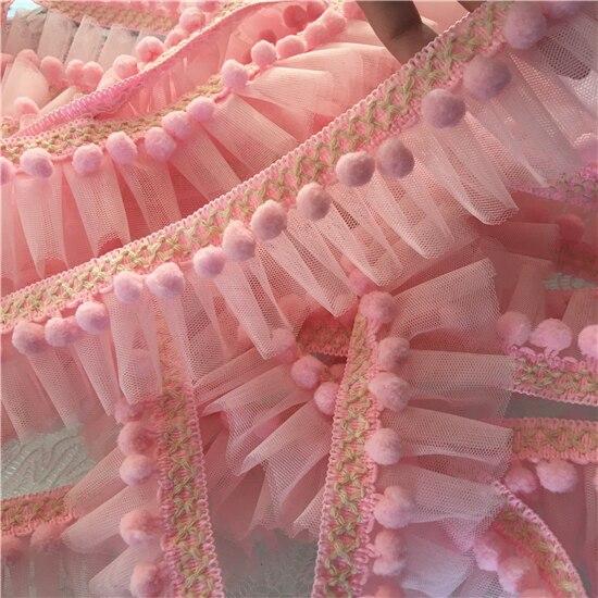 Pom Mini garniture de boule 3 mètres rose/bleu | Dentelle à volants en maille, dentelle à pompon faite à la main, ruban de dentelle boule, accessoires de couture bricolage Z1185