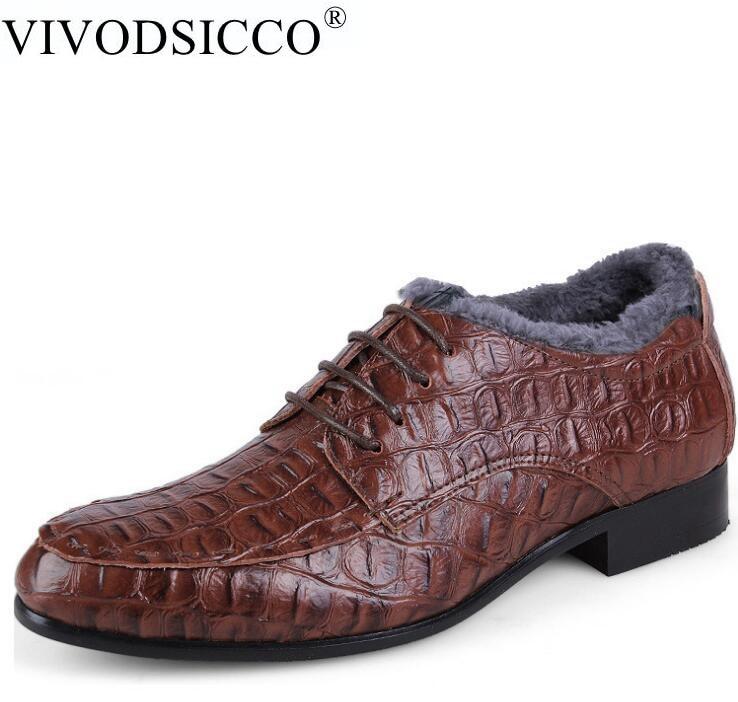 купить VIVODSICCO Plus-size 36-50 Fashion Plus Fur Men Dress Leather Shoes Wedding Shoes Social Sapato Male Oxfords Flats Shoes Sapatos недорого