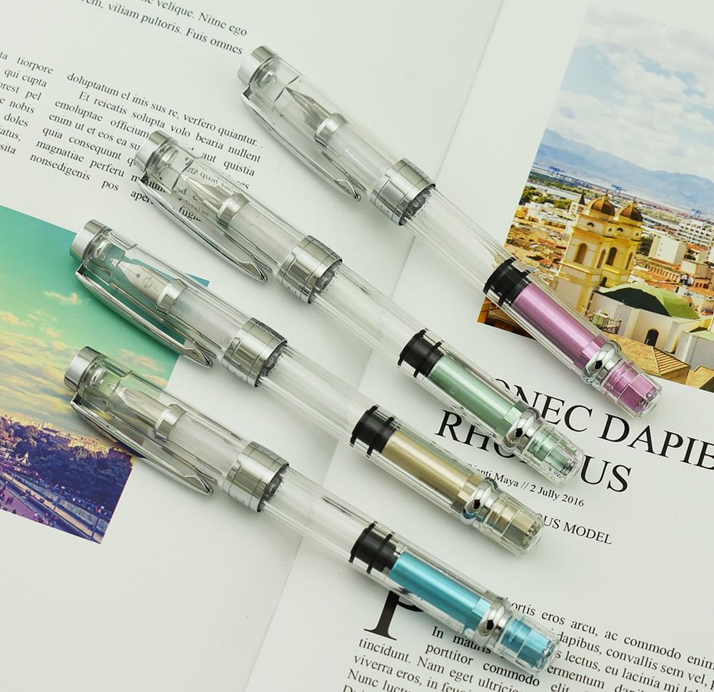 2018 New 4PCS Wingsung 3008 Piston Transparent Fountain Pen Set Extra Fine Nib Silver Trim Ink Pen for Office Business School