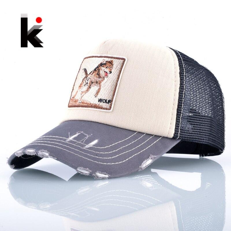 Fashion Unisex Patch Bones Wolf Embroidery Hip Hop Hats Breathable Mesh Baseball Caps Men Women Casquette