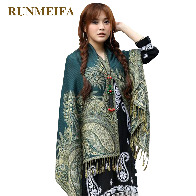 [RUNMEIFA] Women Elegant Reversible Floral Paisley Pashmina Shawl   Wrap     Scarf   cotton Ethnic style   scarf   for girls Free Shipping