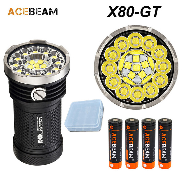 Acebeam X80-GT Super bright flashlight 18* CREE XHP50.2 LED max 325,00 lumen beam 369 meter torch + 4* IMR 18650 3100 batteriesAcebeam X80-GT Super bright flashlight 18* CREE XHP50.2 LED max 325,00 lumen beam 369 meter torch + 4* IMR 18650 3100 batteries