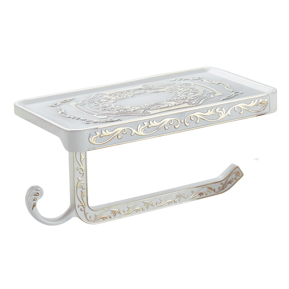 Elegant Bathroom Paper Towel Holder: Antique Carving Elegant White Toilet Roll Paper Rack With