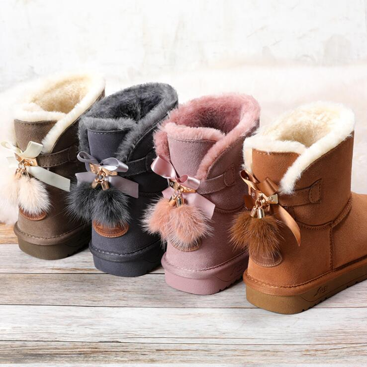 Snow Boots Women Shoes Woman Boots Winter Boots Fox Fur Pendant Fashion 2019 Winter New Snow Boots Non slip Warm Breathable X29-in Ankle Boots from Shoes