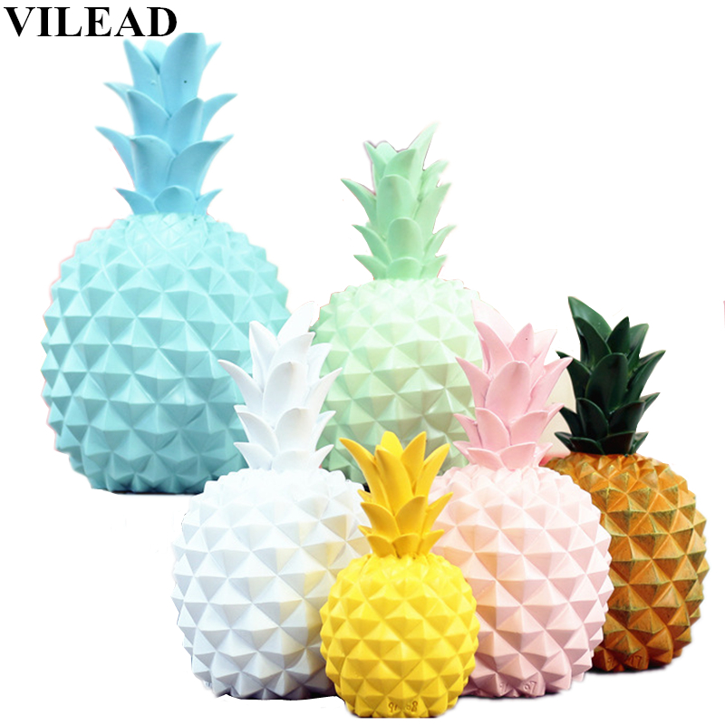 VILEAD 8 Color Resin Pineapple Piggy Bank Miniatures Figurines Pineapple Model Money Box Fruit Decoration Creative Home Decor|Figurines & Miniatures|   - AliExpress