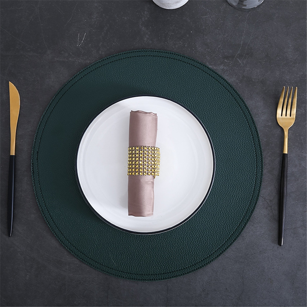 Stylish Copper Beaded Round Coaster Dining Table Placemat Decor 10cm Dia.