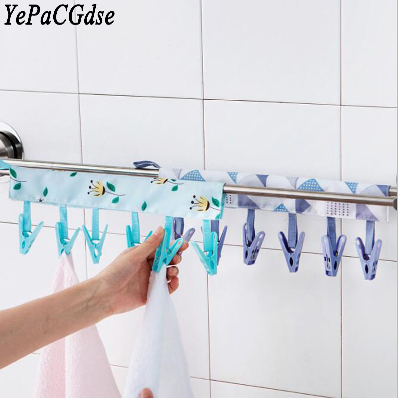 Second-generation portable fabric hangers Bathroom hangers collapsible travel drying clothes clips Outdoor folding hangers