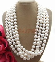 very good AAA Natural 4Strds 9 10MM White Pearl Necklace 14k gold plated Fine women jewelry A