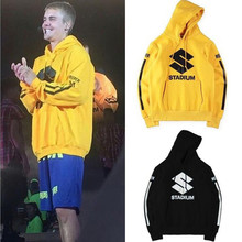 HZIJUE Bieber Stadium Purpose Tour Fleece Yellow Hoodies 2017 Hip Hop Stripe Print Streetwear Sweatshirts Men Swag Hoodie S-XXL