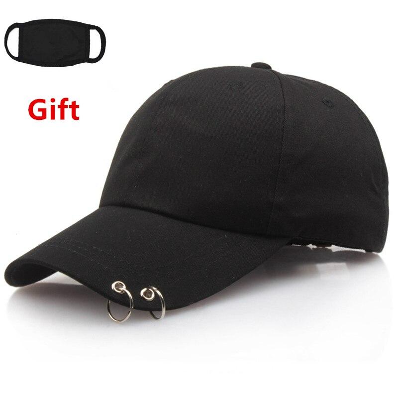 Mask as Gift Kpop   baseball     cap   with two rings men women hip hop Rapper Bboy DJ Popper Locker Jazz dancer   cap   sun hat