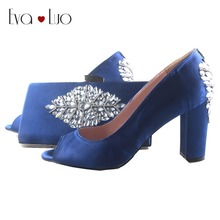 BS879 Custom Made Royal Blue Crystal African Shoes With Matching Bag Set Block  Heel Women Pumps 31058e803dd8