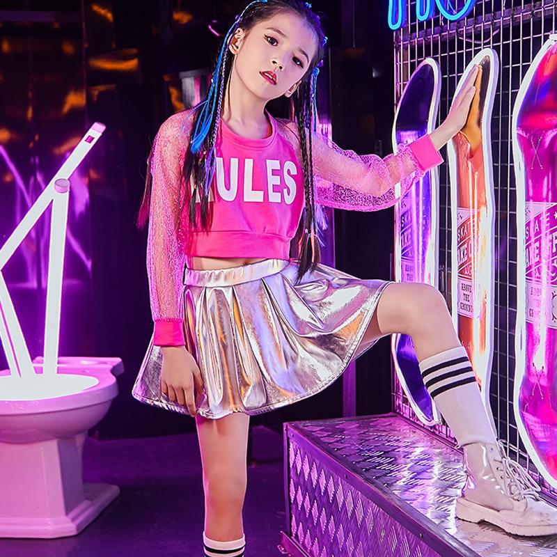 Jazz Dance Costume Children Street Show Modern Girls Jazz Skirt Costumes Girls Hip Hop Jazz Dance Performance Clothing DL3787