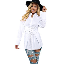 2017 Summer Long Sleeve White Blouse with Women Sexy Woman Shirt Elegant Tops Formal Clothing for Office lady