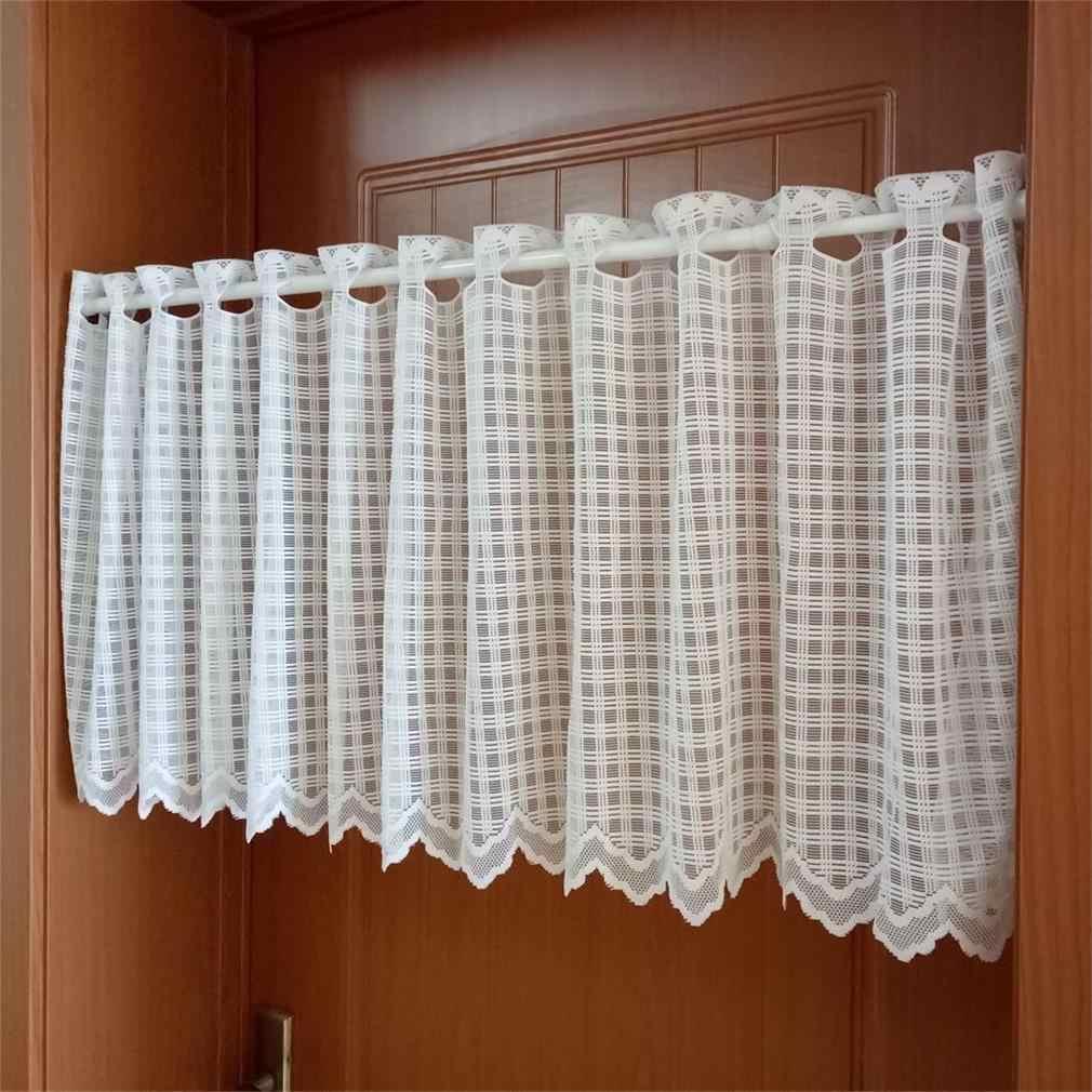 blanc plaid dentelle demi rideau