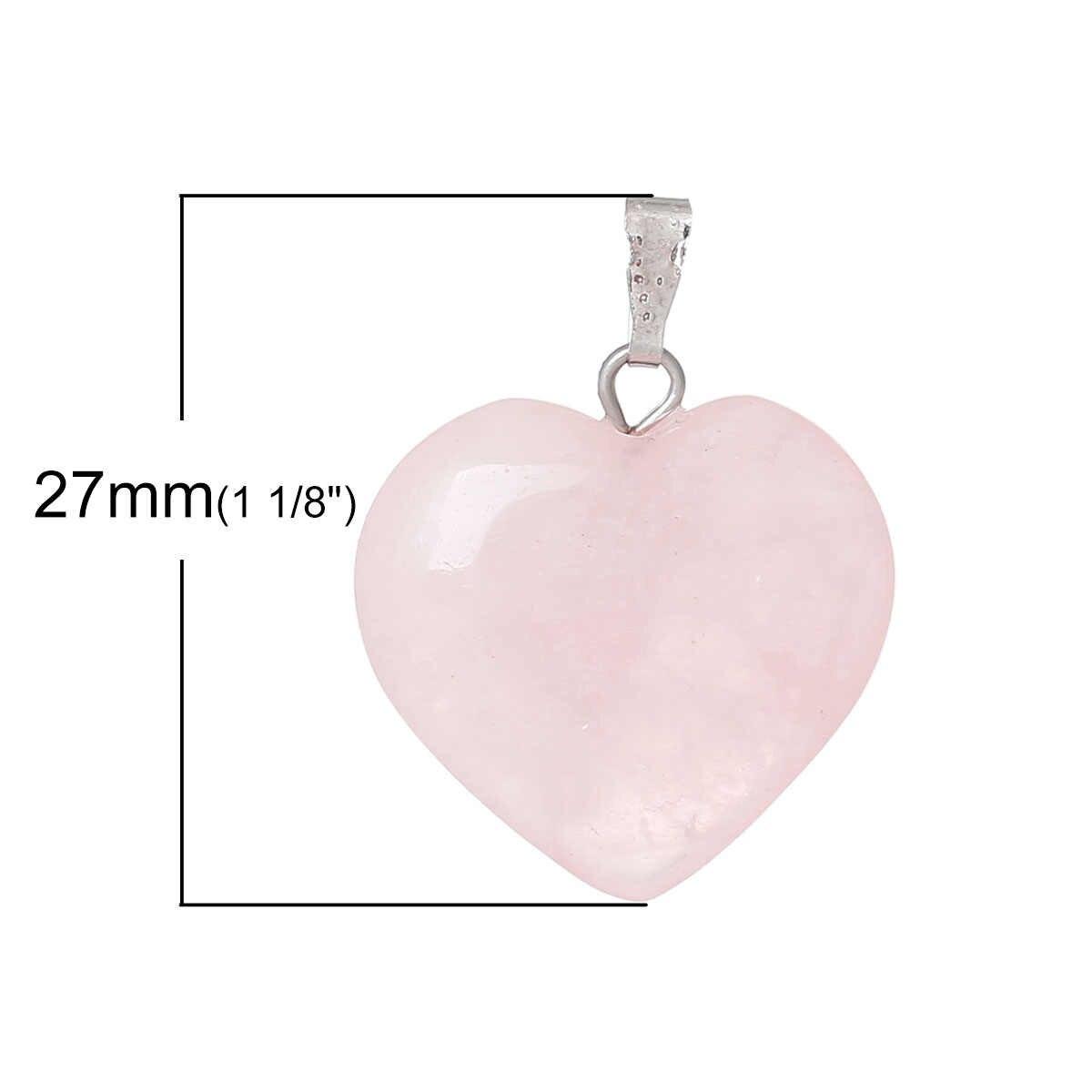 Doreenbeads Hot moda kobiety (klasa B) utworzono Rose Gem Stone Charm wisiorki serce różowy biżuteria prezent 27x21mm, otwór: 6x2mm 1PC
