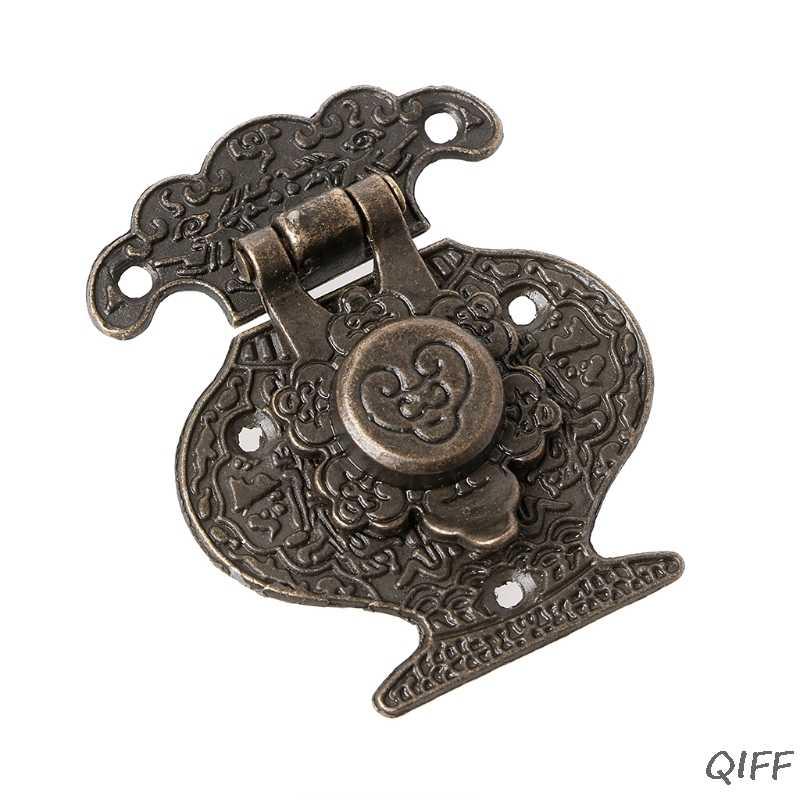 アンティークブロンズ掛け金ラッチジュエリー木箱ミニキャビネットバックルロック装飾 Mar28