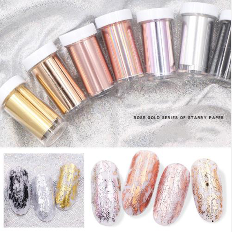 1 pcs 4*70cm Matte Rosa de Ouro A Laser Nail Art Polonês Dicas Decoração Folha Holográfica Folha De Transferência Prego rolos de Unhas DIY Materiais