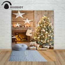Allenjoy Christmas backdrop Fireplace stars gift tree light shiny warm professional backdrop background