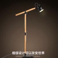 Northern Europe Contracted Style Wooden Adjustable Eyeshield Floor Lamp Study Room Foyer Bedroon Floor Light Free