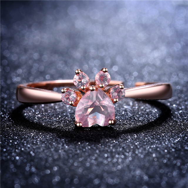 Romad Bear Paw Cat Claw Opening Adjustable Ring Rose Gold Rings for Women Romantic Wedding Pink Crystal CZ Love Gifts Jewelry 1