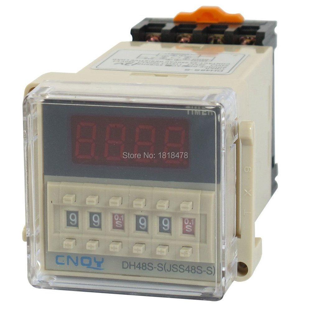 DH48S-S  AC/DC12V   SPST 8P 0.1S-99H Timer Delay DIN Rail Time Relay DH48S-S w Socket knob control dc24v dc12v ac110v ac220v 8p dpdt 5s seconds timer time delay relay w socket h3y 2